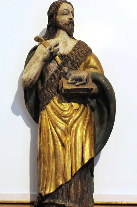 Saint John - Carved wood, painted in several colours - Alpine (possibly Austrian) - circa 1700