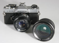 Fujica ST 605 with Fujinon 2.2/55mm and Marexar 28mm wide-angle