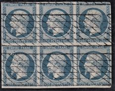 France 1850 - 25c blue in block of 6 cancelled with incomplete grill - Yvert no 15