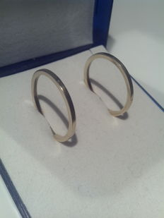 Gold earrings, 14ct/585, diameter 2,2 cm