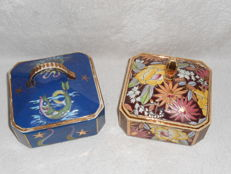 Raymond Chevallier for Boch Frères Keramis - 2 Lidded boxes with floral decor D2938 and with maritime decor D5468