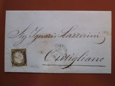 Italy, 1861 – 10 cent, dark olive brown stamp on a letter from Florence to Cutigliano – Sass. No.  14 Cbb.