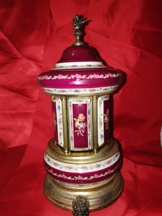 Hand-painted Porcelain and Brass Carousel/Carillon cigarette box