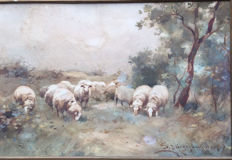 A J  Groenewegen.(1874-1963) - Grazing Sheep