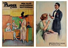 J.W. (Willy) Sluiter (1873-1949) - Twee graphic art/advertising objects: Van Houten's Cacao&Chocolade and Pander&Zonen