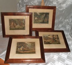 Four colourful engravings of hunting scenes