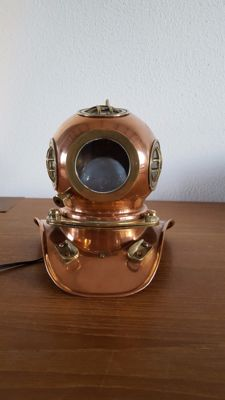 Diving helmet made of copper with lighting