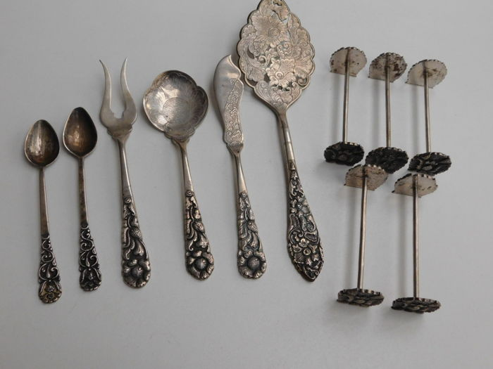 Collection of Djokja silver, Indonesia, ca. 1930