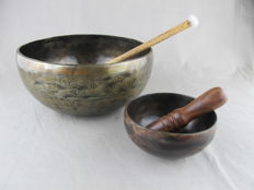 2 etched, handmade singing bowls - Tibet - last quarter of the 20th century