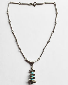 Vintage necklace (1960s) in 925 silver with turquoise - Designed by O. P. Orlandini for UNOAERRE (made in Italy)