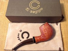 Unsmoked Il Ceppo freehand pipe, awesome blasted briar, Cumberland stem suitable for 9 mm filters, hand made, Italy!