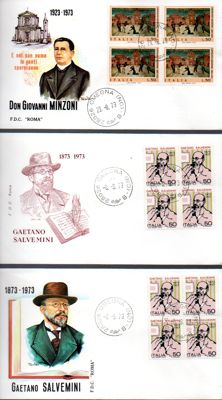 Italy, Republic, 1863/1997 – Collection of 250 FDC envelopes, including 58 fourblocks on FDC envelopes and 29 postcards