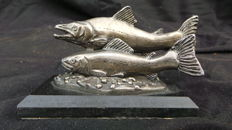Beautiful old Sculpture of Salmon silver plated pewter fish on a wooden plinth