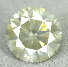 Diamond - 1.21 ct, Si1 - Natural Untreated Fancy Greenish Yellow - VG/VG/VG