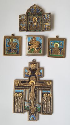 cross, travel icon and 3 small icons - Orthodox