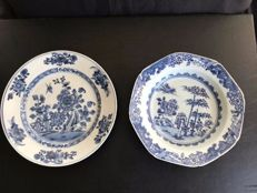 Pair of blue-white porcelain plates - China - 18th century