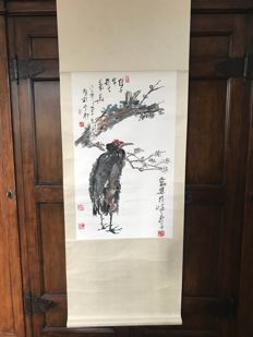 A  scroll with the image of an eagle, made after Pan Tianshou - China - late 20th century