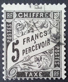 France 1881-92 - Postage Due, Duval Type, 5 Fr black, signed Calves - Yvert no 24