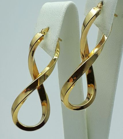 14 Ct Yellow Gold Infinity Earrings, length 3.7cm, Total weight 2.20 g