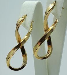 14 Ct Yellow Gold Infinity Earrings, length 3.5cm, Total weight 2.14g