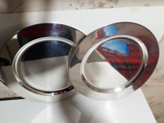 """Lot of 2 dishes in silver """"Calegaro"""" made italy"""