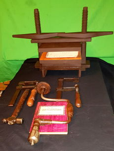 Bookbinding; Hardwood book press and other bookbinder's tools - 20th century