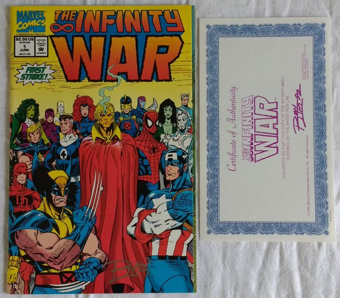 infinity war ron lim signed issue 1 comic with coa 1992 nm m