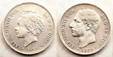 Spain - Alfonso XII and Alfonso XIII - Lot of 5 silver Pesetas - 1885 and 1892 - Madrid