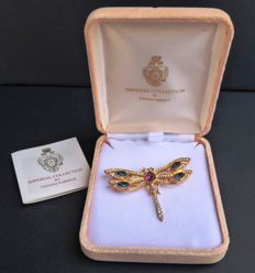 Genuine Dragonfly by Tatiana Fabergé - Vintage 1970 - Rhinestones - 24K gold plated - Signed
