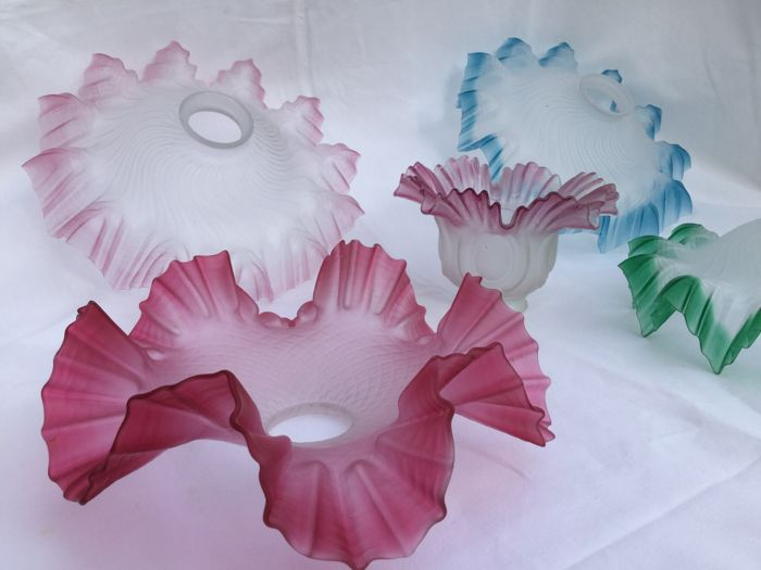 Five beautiful glass Art Deco lampshades - frosted glass with pastel colours- fan-skirts models -Circa 1900-1920