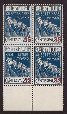 Fiume, 1920 – Italian Regency of Carnaro, 15 on 25 c. Without the overprint in letters, new fourblock – Sass. No.  137k.