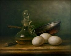 Ad de Roo (20th century) - Still life with glass and eggs