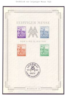 Germany - Russian Occupied Zone 1946 - ( Leipzig City souvenir large block  (Bl 5 5X)
