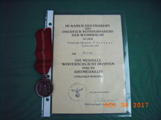 German medal, WW 2, for the Winter Battle in the East (East Medal) with award certificate