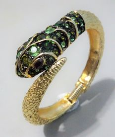 "Kenneth Jay Lane Signed - Gold plated green Austrian crystals hinged SNAKE Bracelet ""Couture Collection"""
