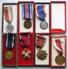 Lot of 7 Polish decorations and medals of Poland Cold War Era