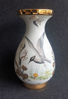 Nice porcelain vase by Porcellaner Sneroll Bohemia with gold paint and a bird depiction