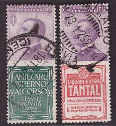 Italy, Kingdom, 1924/1925 – 50 c. Advertising, Piperno and Tantal – Sass. No. 13 and 18.