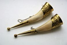 Two Beautiful Antique Drinking Horns, with Viking Head