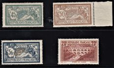France 1910 - lot Merson and Pont du Gard, signed Brun - Yvert No 120, 123, 143 and 262