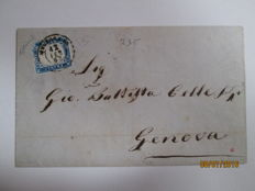 Italy, 1863 - 15 cents. Milky cobalt on a letter from Melegnano to Genova. 'Sassone' catalogue number: 11c