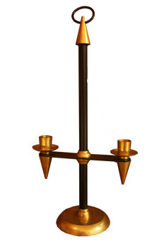 Unknown producer - Mid century brass and black enameled metal chandelier
