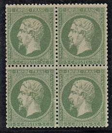 France 1860 – 5c green block of 4, new with hinge, signed Baudot and Calves – Yvert no. 20.