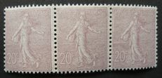 France 1903 - 20 cents brown-lilac Signed Calves with digital certificate - strip of three - Yvert no. 131