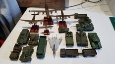 18 Military vehicles including Dinkey toys, Matchbox, Saladin, Efsi, and others