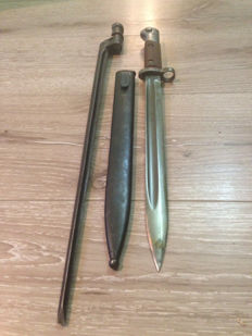Lot of WWII Mauser Bayonet VZ–24 with Sheath ! -Marked -F and Mosin Nagant bayonet