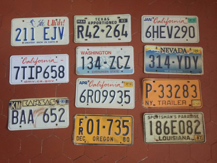 Authentic US licence plates