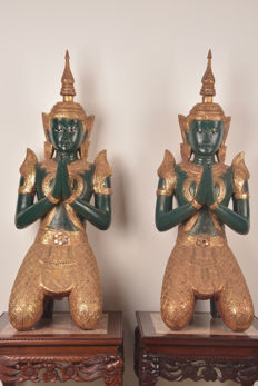 Pair of rare large wooden temple guards - Thailand - mid 20th century