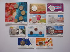 The Netherlands - 9 coins in a coin card / (5 euros Peace of Utrecht, Japan and Rietveld and others) + 1 year set 2014.