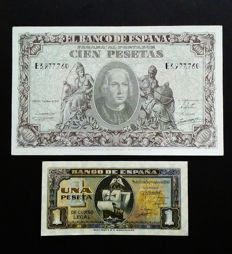 Spain - 1 pesetas 1940 and 100 pesetas 1940 - Pick 118 and 122